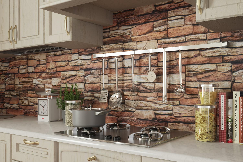 Pellicola adesiva pietra rustico larg 100 cm al metro for Rivestimenti pareti cucina pvc