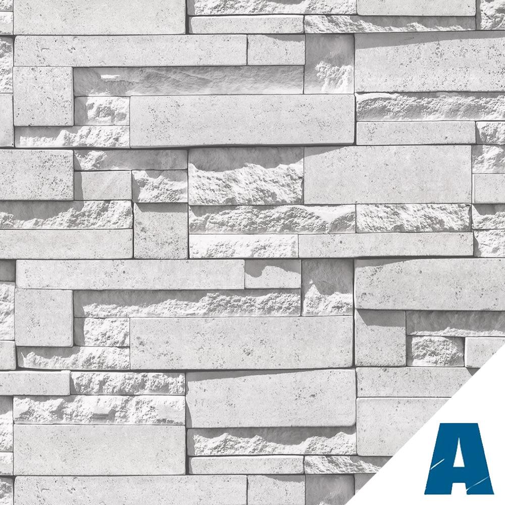 Pellicola adesiva pietra modern white larg 50 cm al metro for Carta adesiva effetto mattoni