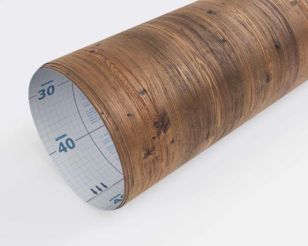 Pellicola adesiva pino scuro doghe larg 122 cm al metro for Pellicola adesiva effetto legno