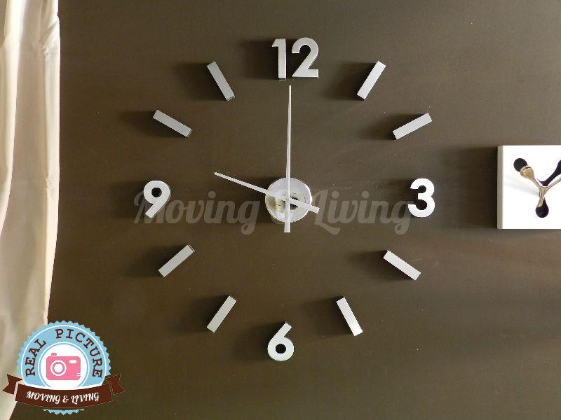Orologio adesivo stick clock parete alluminio silver numeri e stanghette design ebay - Orologio parete cucina design ...