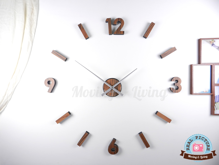 Orologio adesivo stick clock parete legno noce numeri e for Ikea orologio parete