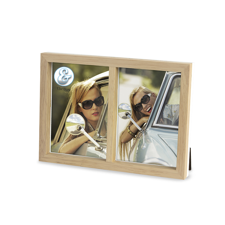 Portafoto multiplo duo doppio da tavolo in legno naturale for Portafoto multiplo da tavolo