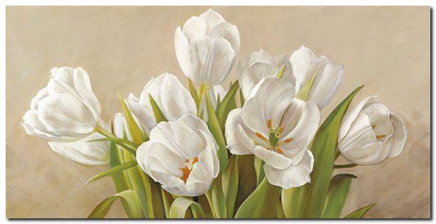 Quadro Serena Biffi \'Tulipani bianchi\' Stampa su Tela Canvas | eBay