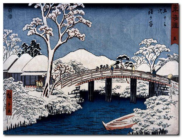 Hiroshige 'paesaggio giapponese' - quadro sta su tela canvas da
