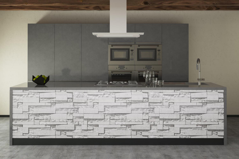 Vendita artesive st 03 pietra modern white larg 50 cm al metro lineare pellicola adesiva - Mattoni per interni casa ...