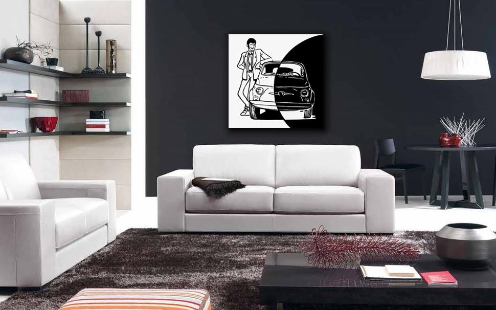 Quadro Lupin su 500 Bianco e Nero - Canvas Ritoccato a Mano 50x50 cm su  Licenza